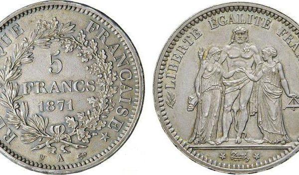 Il 5 franchi della Comune di Parigi (1871)
