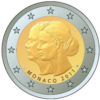 monaco 2 euro commemorativo 2011. Black Bedroom Furniture Sets. Home Design Ideas