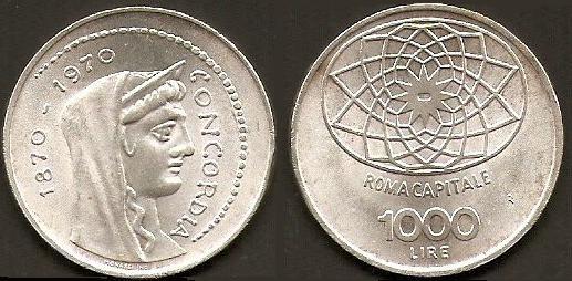 fab5c1ff9f 1.000 lire 1970 in argento, Roma capitale