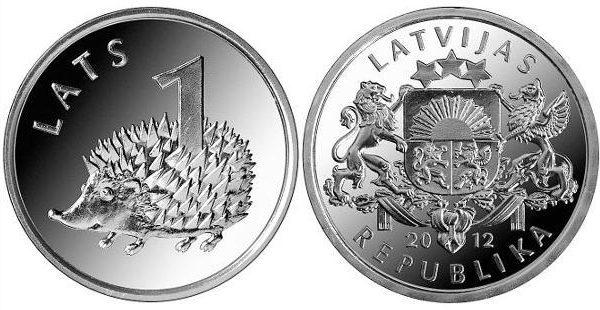 Lettonia, moneta da 1 lats dedicata al riccio