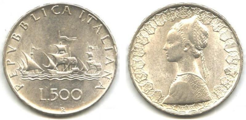 Le 500 lire caravelle in argento for Valore sicuro