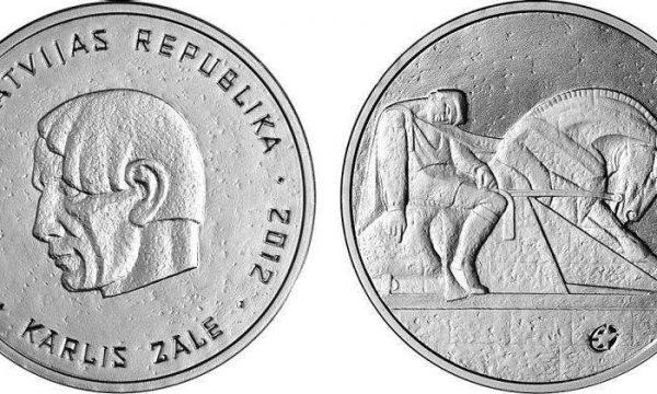 Lettonia. moneta per lo scultore Karlis Zale