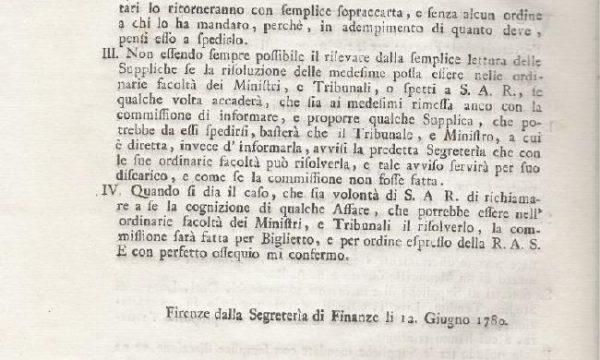 Una circolare del granduca Pietro Leopoldo