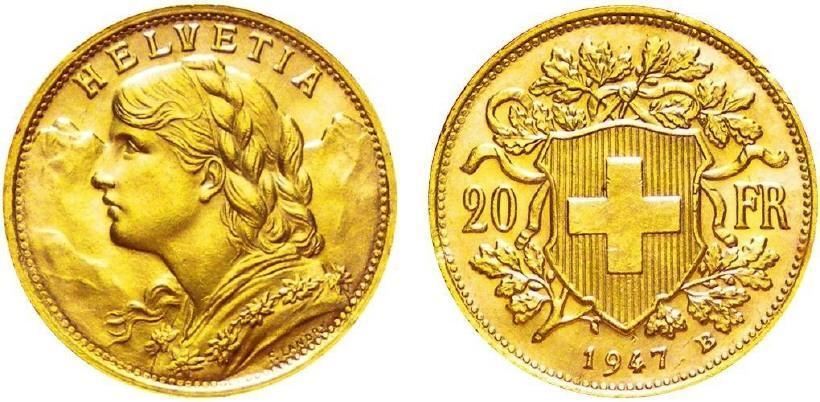Swiss Gold Coins 1883 1949