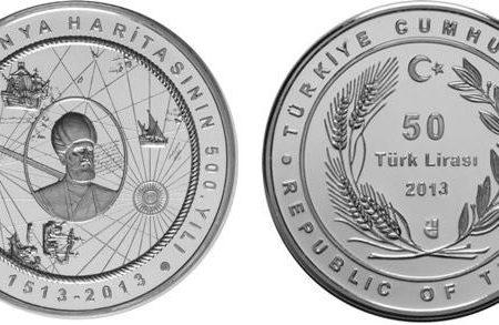 Turchia, moneta per la mappa di Piri Reis