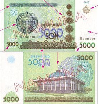 Uzbekistan, nuova banconota da 5.000 sum