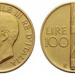 La moneta in oro da 100 lire 1923 Fascio