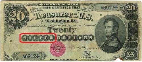Silver Certificate da 20 dollari (Morgan) del 1880