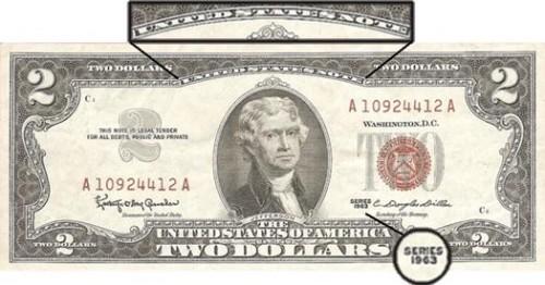 """Pregasi notare che però, in questo Silver Certificate del 1963 al posto di """"FEDERAL RESERVE NOTE"""" c'è scritto, in alto, """"UNITED STATES NOTE"""" (note sta per banconota)"""
