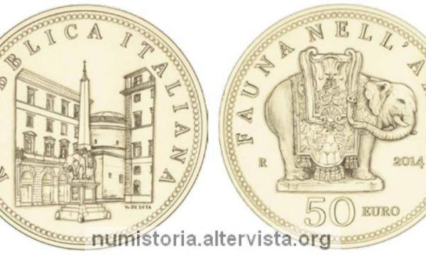 Italia, 50 euro 2014 per la fauna nell'arte