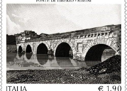Francobollo per il ponte di Tiberio a Rimini