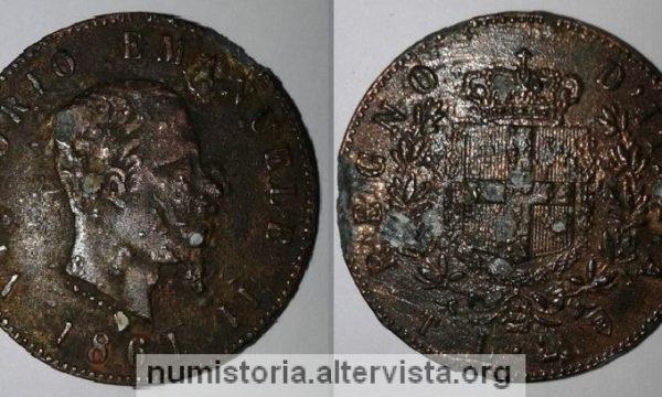 Una falsa moneta del Regno d'Italia: 2 lire 1861