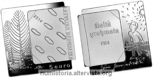 Lettonia, 5 euro 2014 per il Libro Bianco