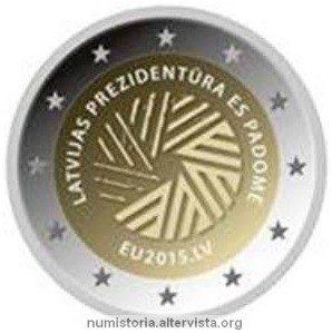 Lettonia, 2 euro commemorativo 2015 per la presidenza UE