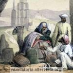 Mercanti arabi che commerciano usando le cauri nel 1845
