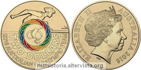 Australia, moneta per le paralimpiadi 2016