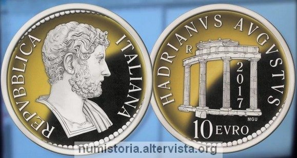 Italia, 10 euro 2017 per l'imperatore Adriano