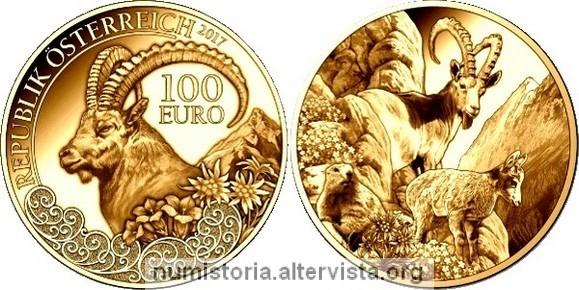Austria 100 euro 2017 per lo stambecco - Sterlina oro 2017 fondo specchio ...