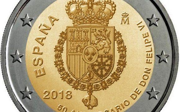 Spagna, 2 euro commemorativo 2018 per i 50 anni del re