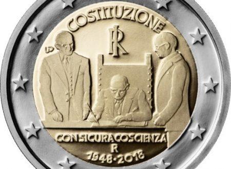 Italia, 2 euro commemorativo 2018 per la Costituzione