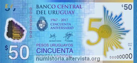 Uruguay, banconota per i 50 anni della banca centrale
