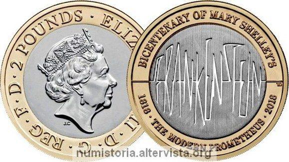 Gran Bretagna, 2 sterline 2018 per Frankenstein