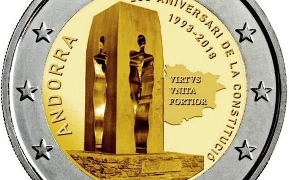 Andorra, 2 euro commemorativo 2018 per la Costituzione