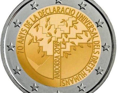 Andorra, 2 euro commemorativo 2018 per i diritti umani