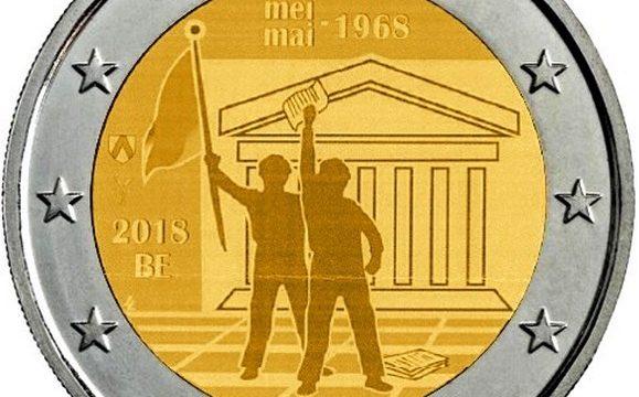 Belgio, 2 euro commemorativo 2018 per il Sessantotto