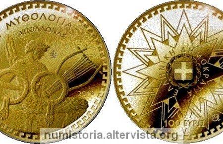 Grecia, 100 euro 2018 per il dio Apollo