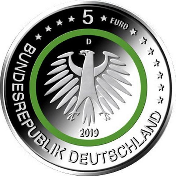 Германия, 5 евро 2019 Умеренная зона
