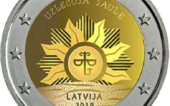 Lettonia, 2 euro commemorativo 2019 sole nascente