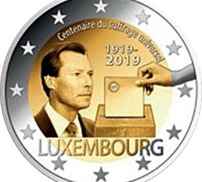 Lussemburgo, 2 euro commemorativo 2019 per il suffragio universale