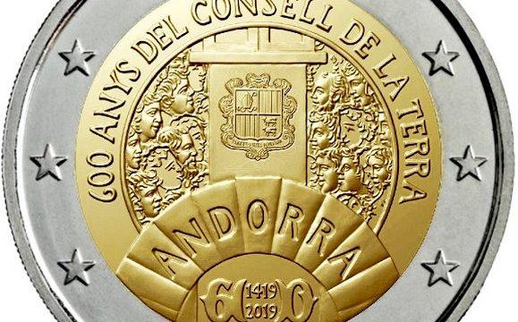 Andorra, 2 euro commemorativo 2019 per il Consell de la Terra