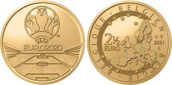 Belgio, moneta per gli Europei di calcio 2021